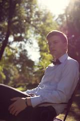 Elegant young handsome groom. Fashion portrait.