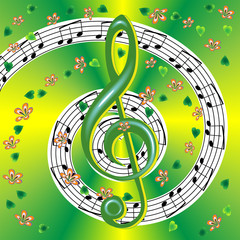 Spring musical poster with treble clef and notes