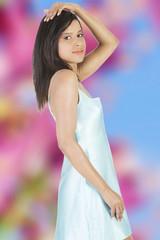 Brunette posing in nightgown