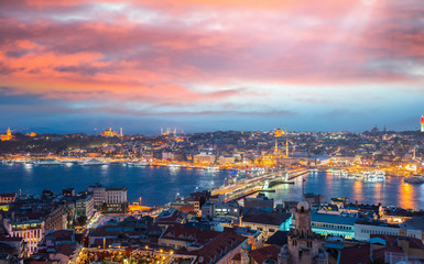 Istanbul night panoramic view and Golden Horn river from Beyoglu