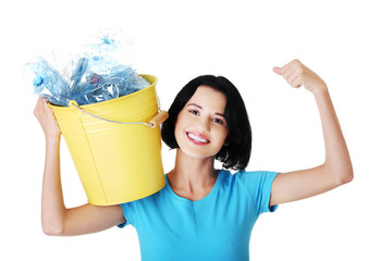 Woman holding a bucket