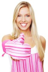 Woman in a kitchen apron