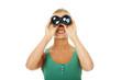 Woman looking through the binocular