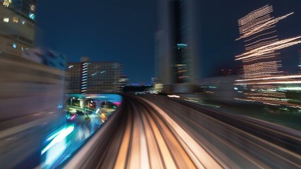 Time lapse through Tokyo from behind the Yurikamome train