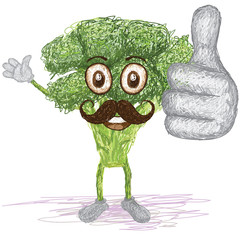 broccoli vegetable mustache cartoon
