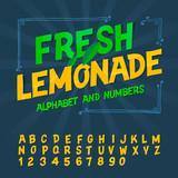 Alphabet and numbers - Fresh lemonade, vector Eps10 image.