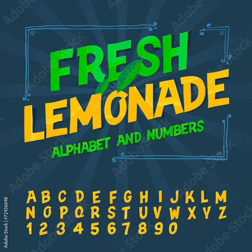 Alphabet and numbers - Fresh lemonade, vector Eps10 image.