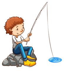 A simple drawing of a man fishing