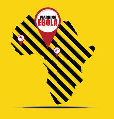 Warning EBOLA sign and Africa map