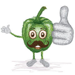 green bell pepper mustache cartoon