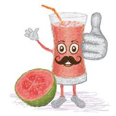 guava fruit juice mustache cartoon