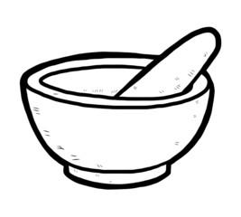 hand drawn mortar and pestle