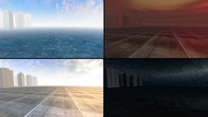 Skyscrapers over cement island at different times