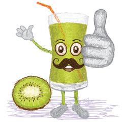 kiwi fruit juice mustache cartoon