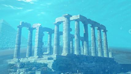 Ruins landmarks submerged under the ocean water