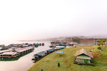 The floating village in Sangkhlaburi, Thailand