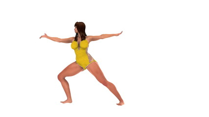 Slim healthy woman doing yoga Warrior Pose