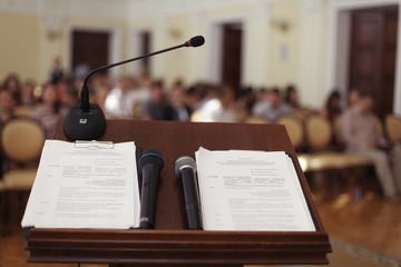 tribune speeches room microphone