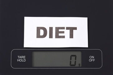 Word Diet on kitchen scale