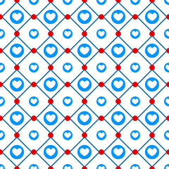 Blue hearts pattern