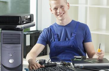 Smiling hardware expert