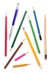 collection of pencils on white