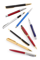 collection of pens on white