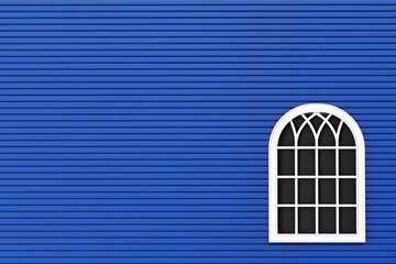 Closeup Closed plastic window with blue wall