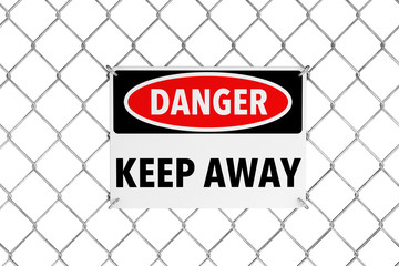 Keep Away Sign with Wired Fence