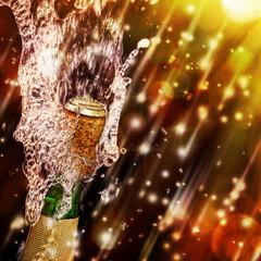 Champagne bottle.