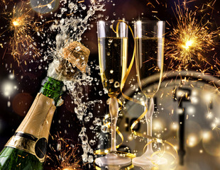 New Year Celebration  with champagne.