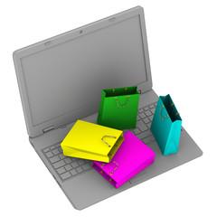 Пакеты для покупок на ноутбуке