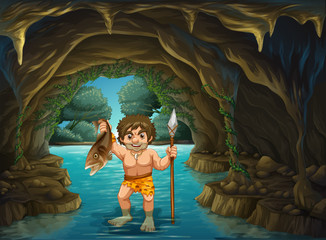 Caveman and  fish