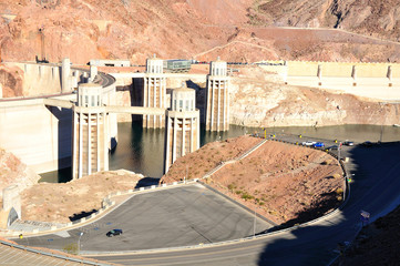 Hoover dam built on the Colorado river at the . USA.