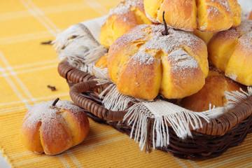 Buns in the shape of a pumpkin