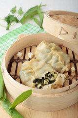 Dumplings with greens and and cheese