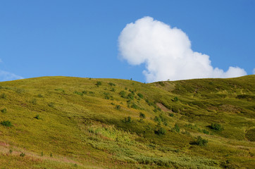 Mountain,blue sky and white cloud,Svanetia,Caucasus mountains