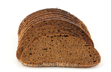 Slices of rye bread isolated on white background