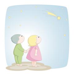 Kinder sehen eine Sternschnuppe