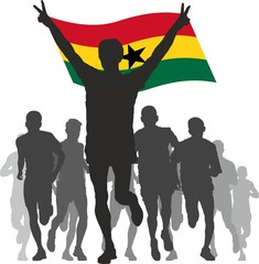 Winner with the Ghana flag at the finish