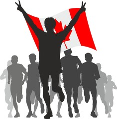 Winner with the Canada flag at the finish