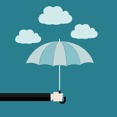 Assurance flat design concept . Hand holding umbrella