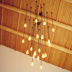 Vintage lighting decor hanging from ceiling with retro filter ef