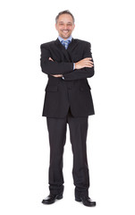 Portrait Of Happy Businessman Standing Arms Crossed