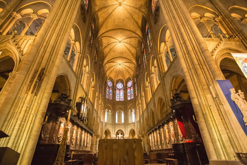 The interiors of Notre Dame Paris, France