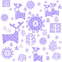 Wallpaper with stylized winter blue print