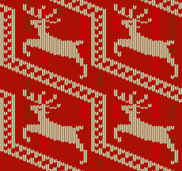 Seamless Red Winter Background with Knitted Deers