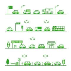 交通 自動車 緑バージョン