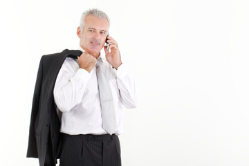 businessman talking to mobile