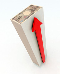 Japanese Yen Tower with red arrow